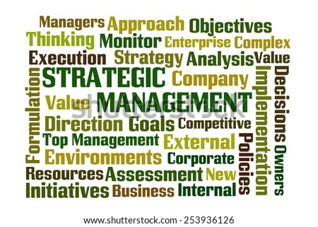Strategic Management word cloud on white background - stock photo