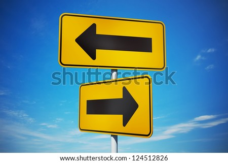 Strategic path with yellow traffic signs - stock photo