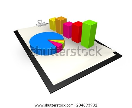 strategic planning with paper isolated on white 3d illustration with colorful graphs