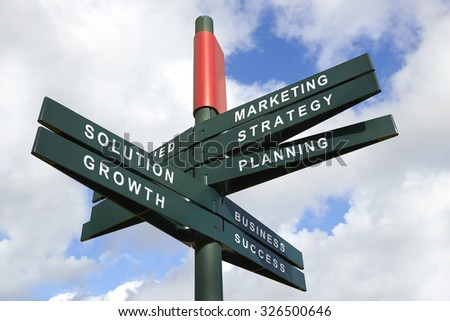 Strategy and created Signpost against cloudy sky - clipping path for isolated the panels - stock photo