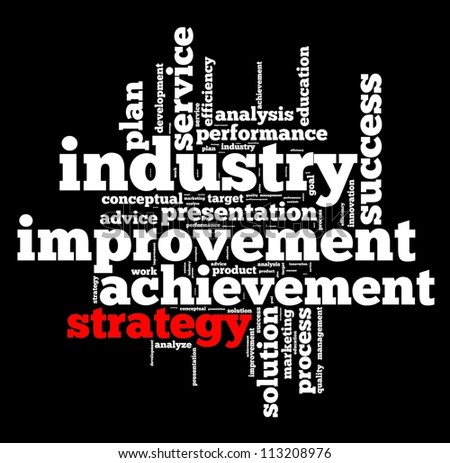 Strategy and plan info-text graphics and arrangement concept on black background (word cloud) - stock photo