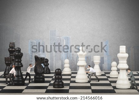 Strategy and tactics of a team of businessman - stock photo