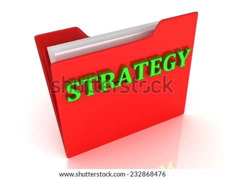 STRATEGY bright green letters on a red folder on a white background - stock photo