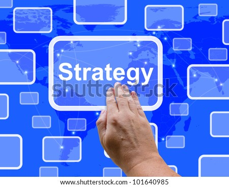 Strategy Button Showing Planning And Vision To Achieve Your Goals
