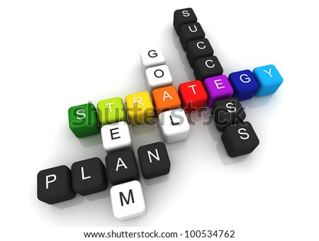 Strategy colorful box Crossword 3D render - stock photo