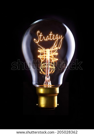 Strategy concept in a filament lightbulb.