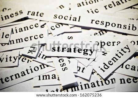 Strategy. Concept of cutout words related with business. - stock photo
