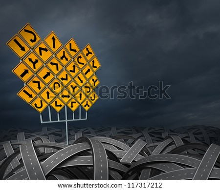 Strategy direction decisions searching for the right path for business career and education as a life concept with a group of yellow traffic signs with confused arrows tangled roads or highways. - stock photo