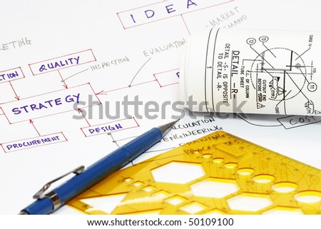 Strategy flowchart with plan - many uses for product development - stock photo