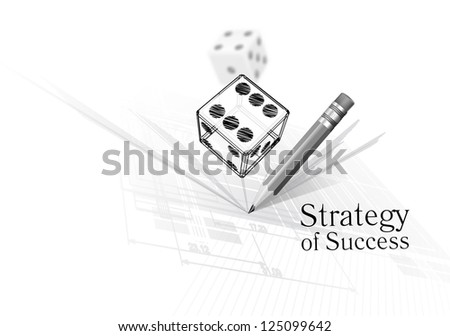 Strategy for success - illustration of dice on calculations drawing background - stock photo