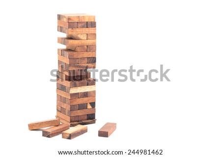 Strategy Game,Blocks of wood isolated on white background. - stock photo