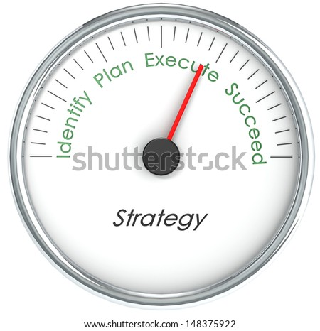 Strategy Gauge with words Identify, Plan, Execute, and Succeed Isolated - stock photo
