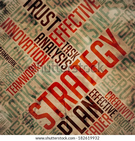 Strategy. Grunge Wordcloud. - stock photo