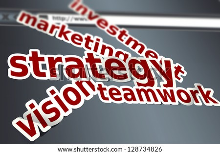 Strategy, marketing words concept - stock photo