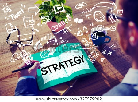 Strategy Online Social Media Networking Marketing Concept - stock photo