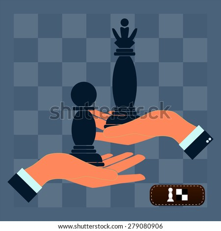 Strategy planning concept. Man playing chess and try to find strategic position. - stock photo