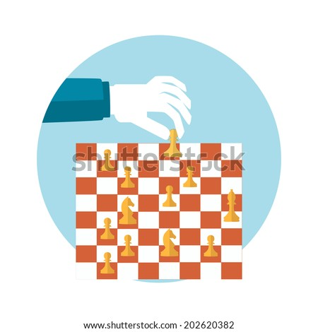 Strategy planning concept. Man playing chess and try to find strategic position. Flat design. Raster version - stock photo