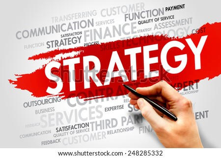 Strategy word cloud, business concept - stock photo