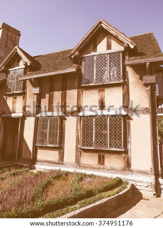 STRATFORD UPON AVON, UK - SEPTEMBER 26, 2015: William Shakespeare birthplace vintage