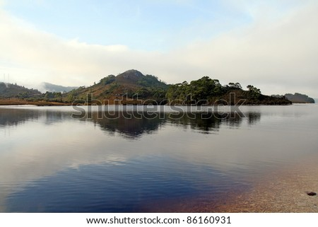 Strathgordon lake, Tasmania, Australia - stock photo