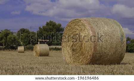 Straw bales on Farmland under cloudy blue sky - stock photo