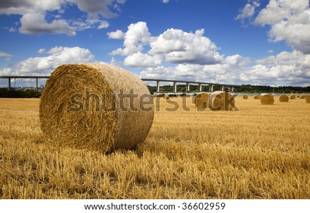 Straw bales with river and bridge in the Background - stock photo