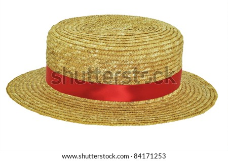 Straw Boater with red band - stock photo