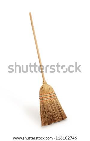 Straw broomstick - stock photo