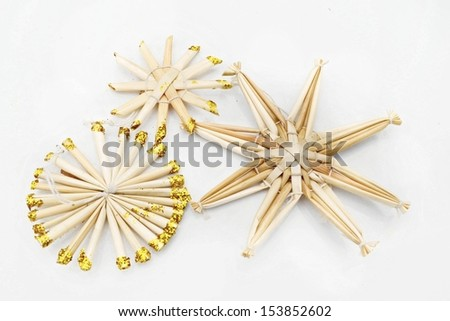 Straw Christmas ornaments  - stock photo