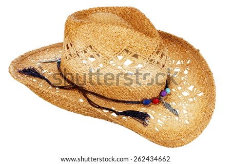 Straw Cowboy Hat - stock photo