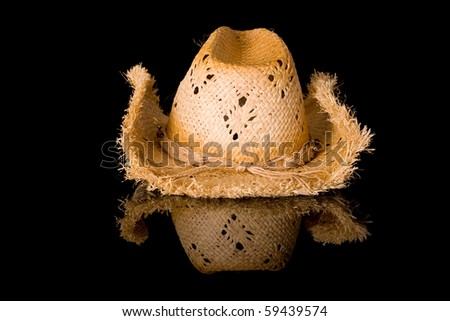 straw hat, front view, studio shoot isolated on black with reflection - stock photo