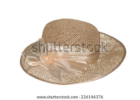 Straw hat, isolated on the white. - stock photo