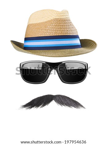 Straw hat, moustaches and sunglasses - stock photo