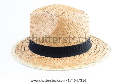 Straw hat on isolated white background - stock photo