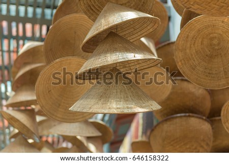 straw hat or conical Vietnamese hats in Vietnam.
