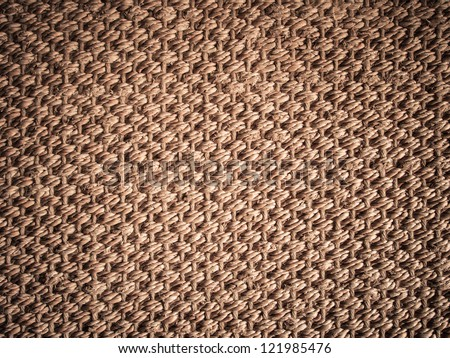 Straw texture mat with vignette. Twig, rush, rattan, reed, cane, wicker or straw mat background - stock photo