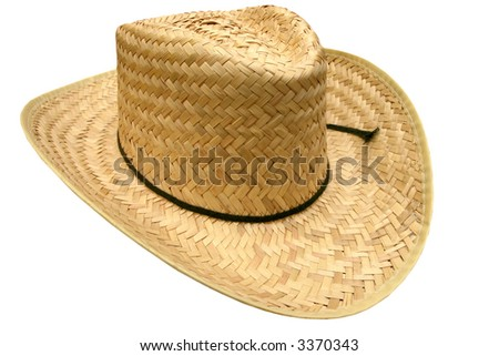 Straw weave cowboy hat with a black string.