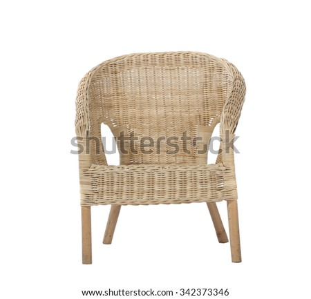 Straw wicker chair. Isolated on white