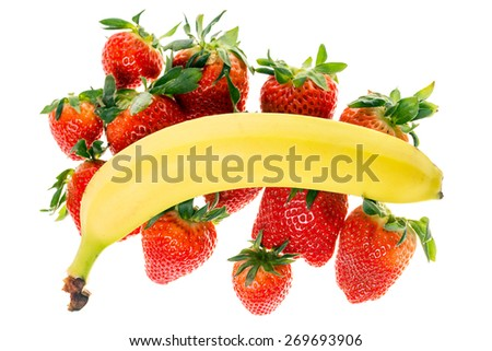 Strawberries and banana isolated over a white background / Fruits - stock photo