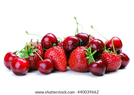 Strawberries and cherry isolated on white background - stock photo
