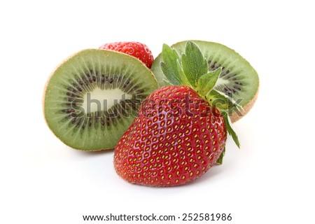 Strawberries and kiwi fruit isolated over white background. - stock photo