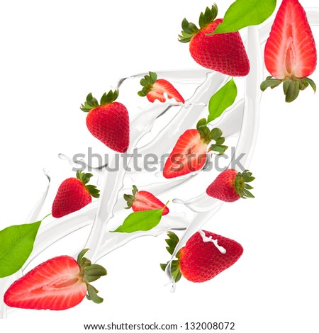 Strawberries and leaf in milk splash, isolated on white background - stock photo