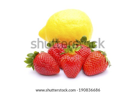 Strawberries and lemon solated on white background - stock photo