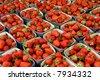 Strawberries at farmers market - stock photo