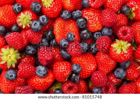 Strawberries Blueberries and Raspberries - stock photo