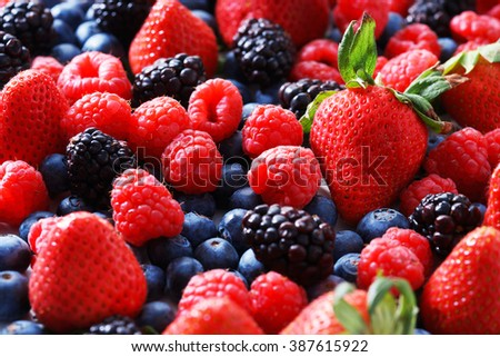 strawberries, blueberries, raspberries and black berries. fresh berries on white background - stock photo