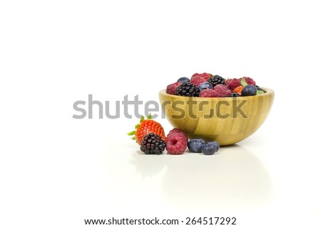 Strawberries, blueberries, strawberries, raspberries and mulberries. - stock photo