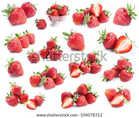 Strawberries collection isolated on white background - stock photo
