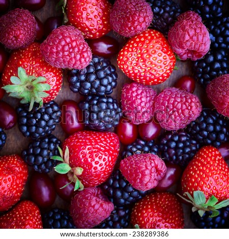 strawberries, dogwood, blackberries and raspberries, top view, close-up  - stock photo