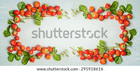 strawberries frame on wooden background, top view, banner for website - stock photo